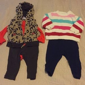 5 piece/2 outfit set Lot baby Girl clothes
